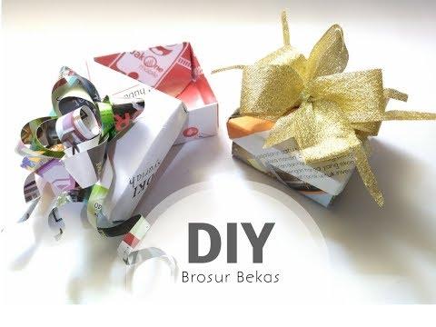 DIY Easy Gift Box || Cara Mudah Tanpa Lem Buat Kotak Kado Dari Brosur Bekas