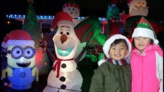 Kids Ride On Disney Frozen Sleigh Power Wheel to go see Christmas Lights in Wonderland