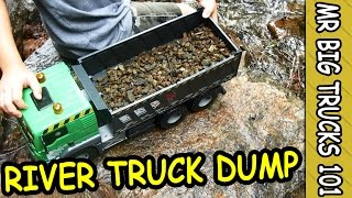 Digger & Dump Truck Load Rocks in Mountain River: MrBigTrucks101