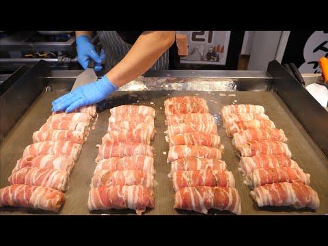 Best Korean Market Food in Gangneung - Bacon Kimchi Roll, Squid Ink Ice Cream, Fried Chicken etc.
