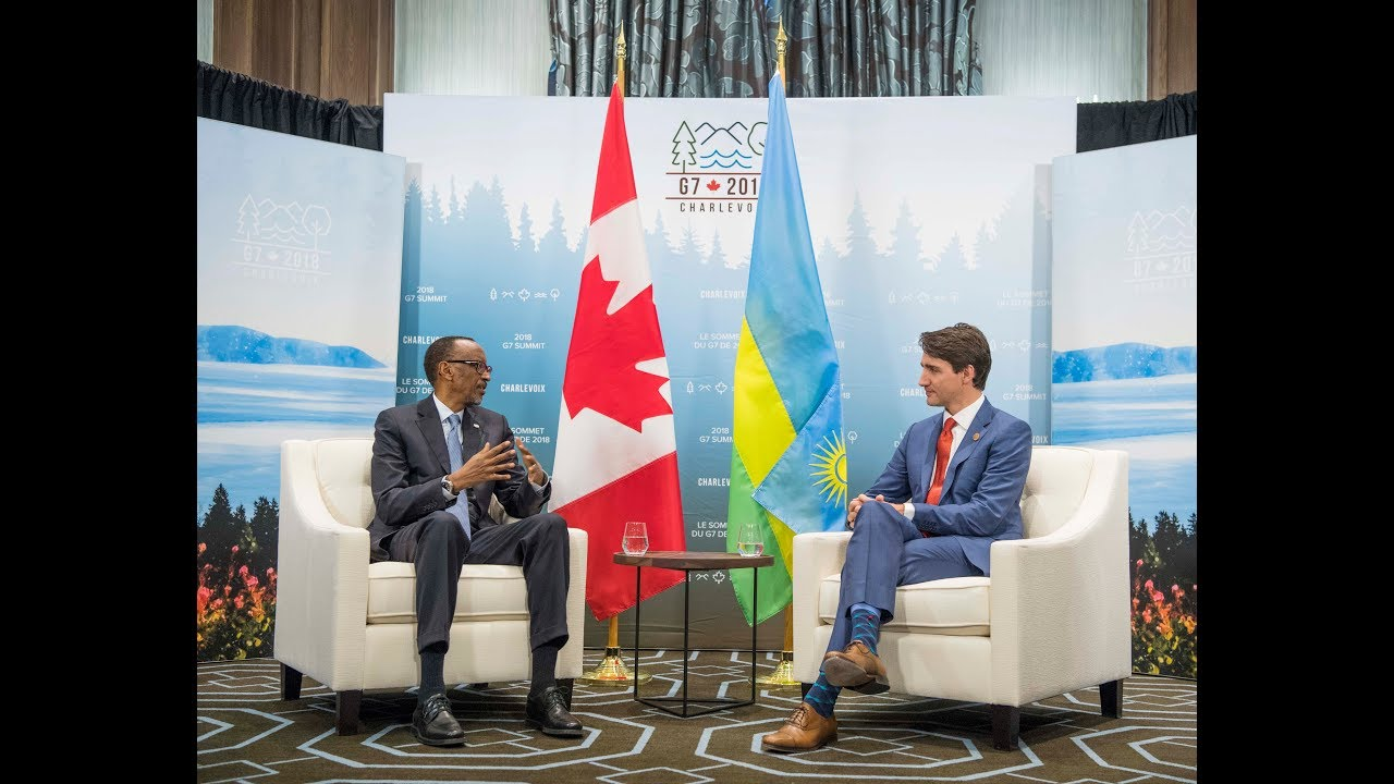 President Kagame meets with Prime Minister Justin Trudeau following the G7 Summit held in Quebec