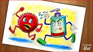 Fight Corona Virus Sanitizer Drawing  || Covid 19 poster making - go corona go (easy) step by step