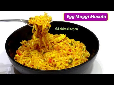 Egg Maggi Masala Recipe in Hindi   Street Style Egg Maggi Masala   Bachelors Recipe   KabitasKitchen