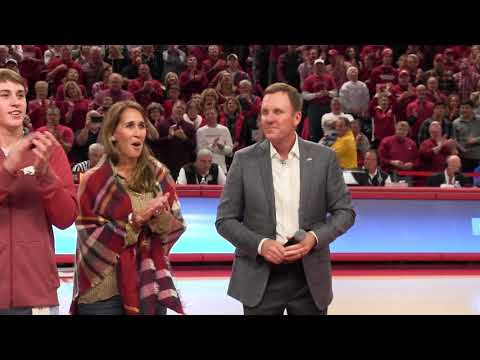 Chad Morris introduced to fans at Bud Walton Arena