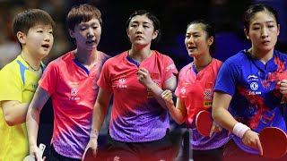 Chinese table tennis players training , ding ning , liu shiwen
