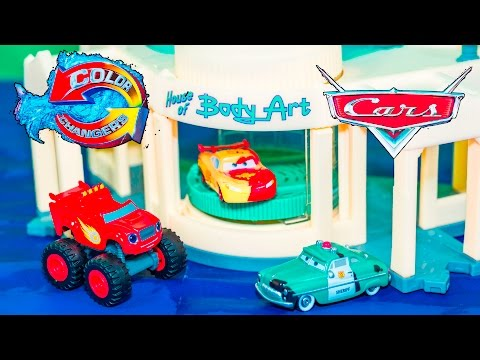 CARS   Lightning McQueen and  Blaze use the Ramone Car Wash