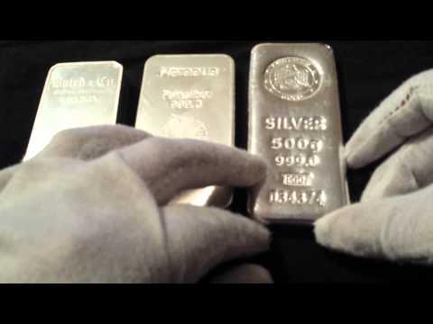 Emirates Gold, Baird & Co, Pamp Suisse, Heraeus 500g Half Kilo Silver bullion bars