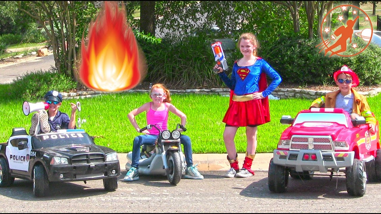 little heroes 45 superhero intern supergirl and the kid firemen driving cars