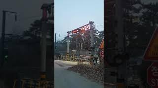 용산리 건널목 화물열차 통과 영상