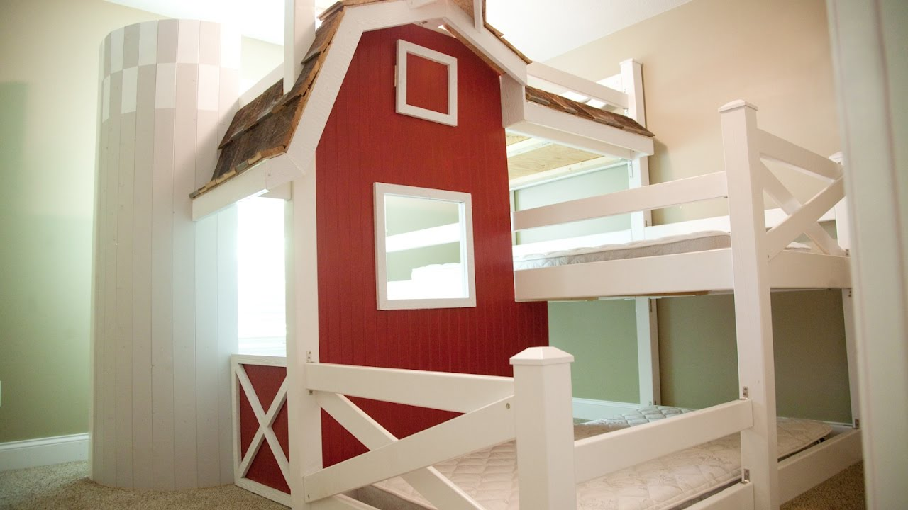 Homemade Farm Barn Triple Bunk Bed DIY - YouTube