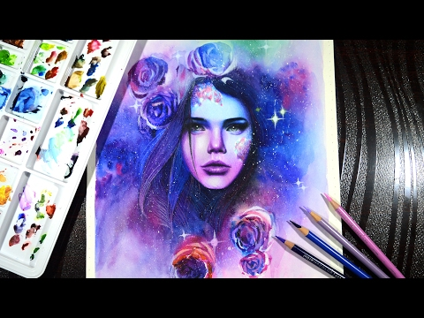 The galaxy goddess -- Timelapse drawing -- Prismacolor pencils and watercolor.
