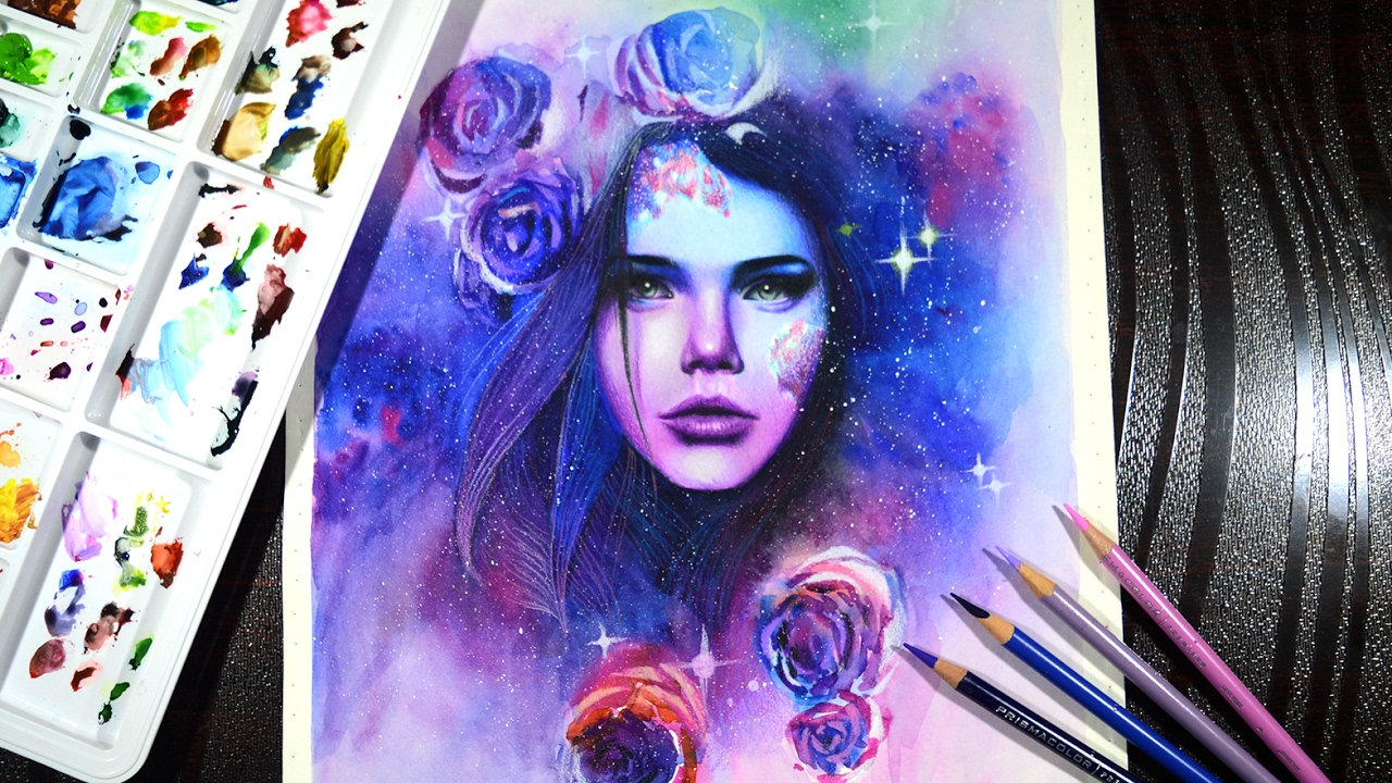 The galaxy goddess timelapse drawing prismacolor pencils and watercolor