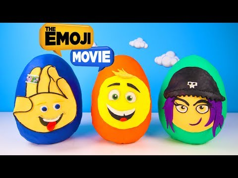 Thumbnail: The Emoji Movie Giant Play Doh Surprise Eggs Toys with Hi-5, Jailbreak, Gene | Ellie Sparkles