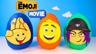 The Emoji Movie Giant Play Doh Surprise Eggs Toys with Hi-5, Jailbreak, Gene | Ellie Sparkles