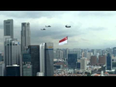 Singapore Flag carried by Helicopters - Seen from