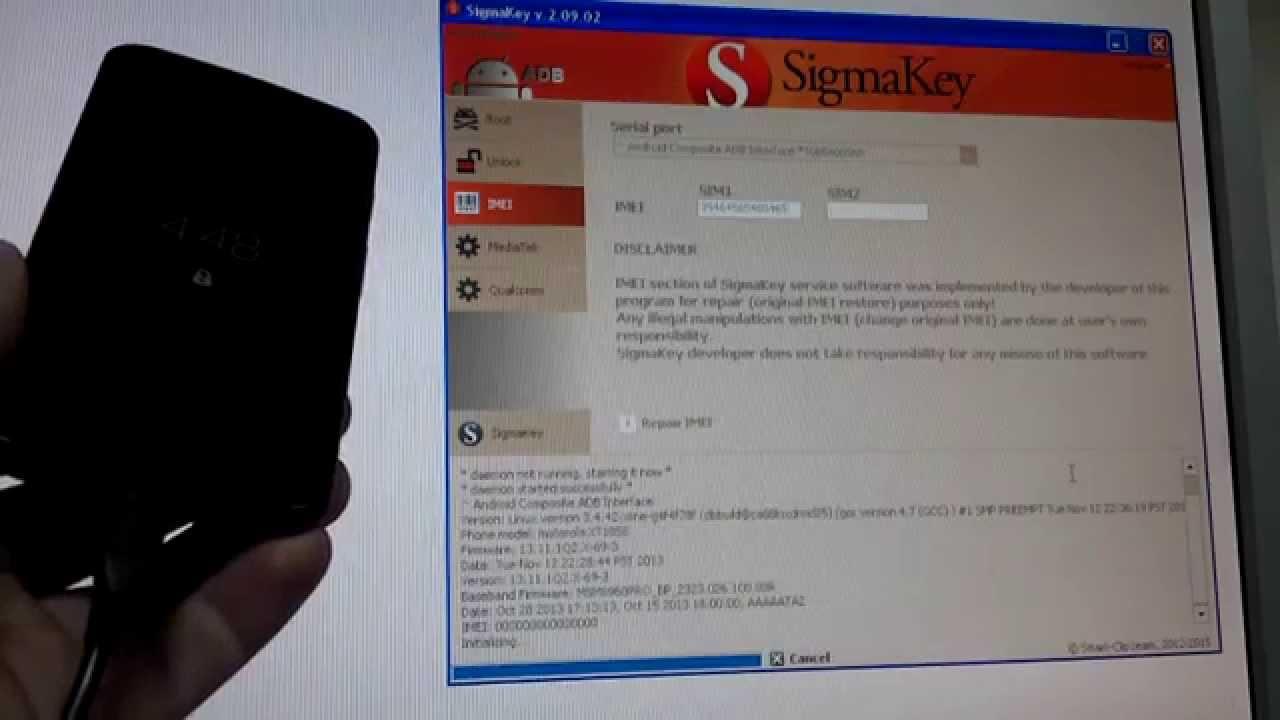 Motorola MotoX XT1058 4 4 4 Repair IMEI with Sigmakey