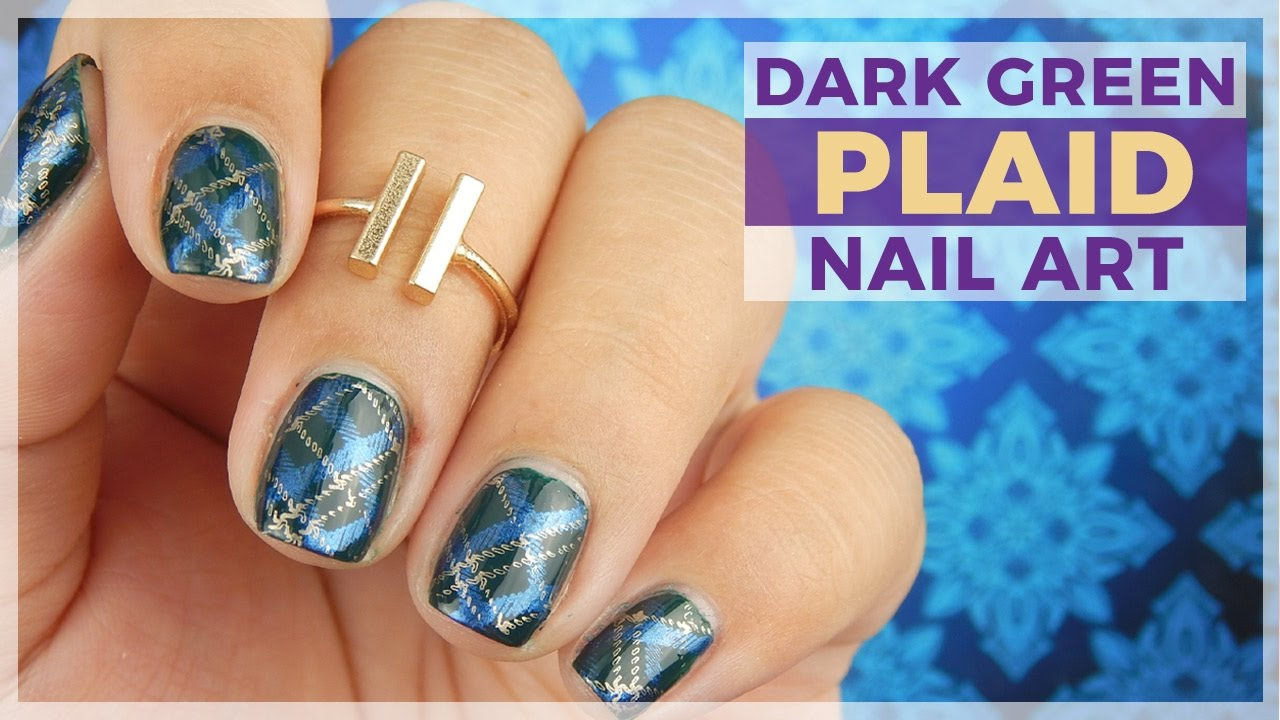 Dark Green Plaid Nail Art Design Youtube