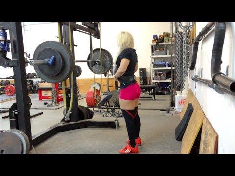 Kim Valentine   280 Raw Squat, 325 Deadlift, 160 Bench Press.