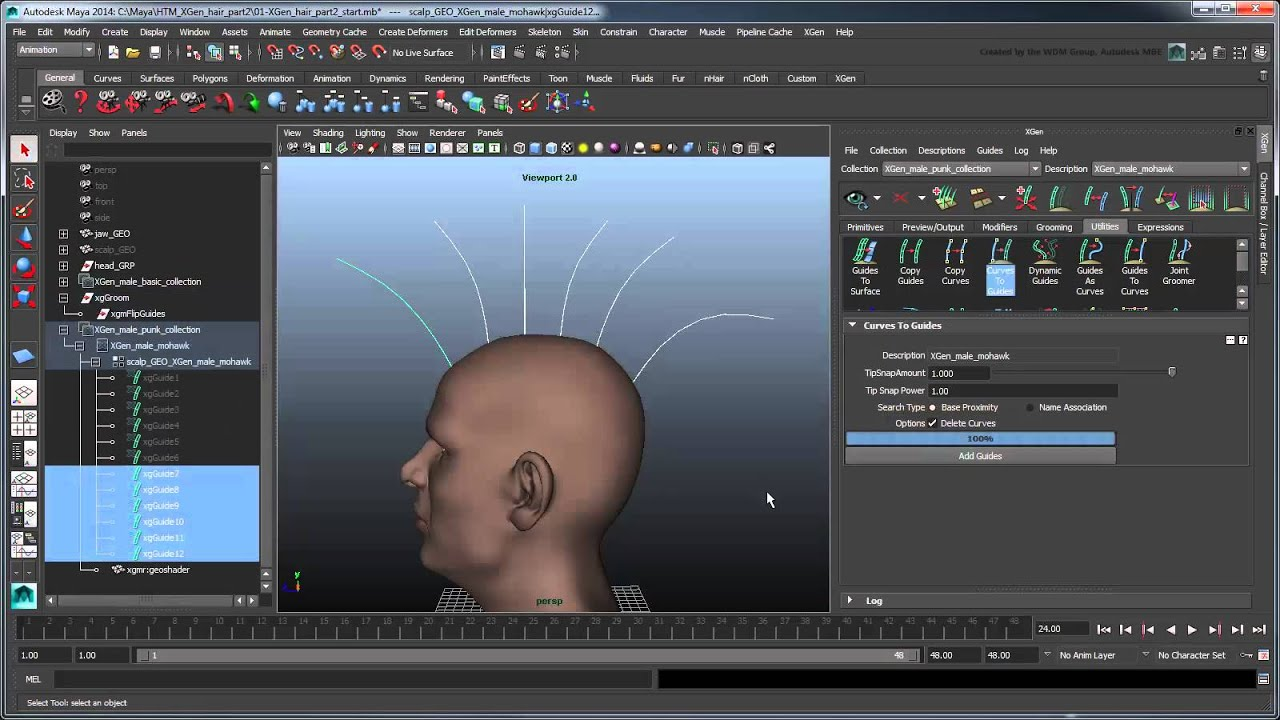 Creating Xgen Hair (maya 2014)  Part 2: Punk Hairstyle Using Clump Maps  And Groomable Splines  Youtube