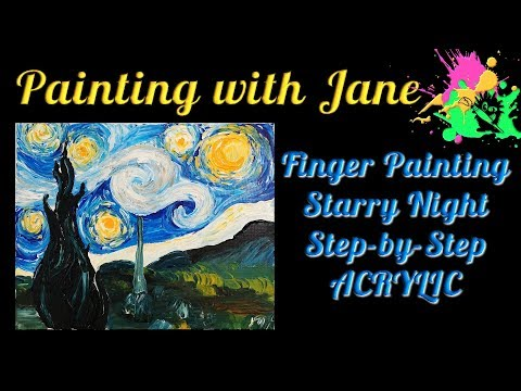 30 Days of Art #9 - Finger Painting Starry Night Step by Step Acrylic Painting for Beginners