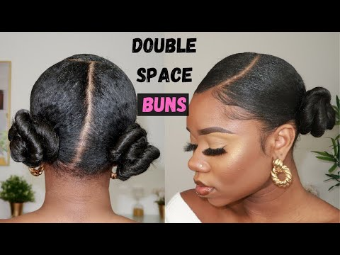 Hairstyle For Natural Hair : SLEEK DOUBLE SPACE BUNS thumbnail