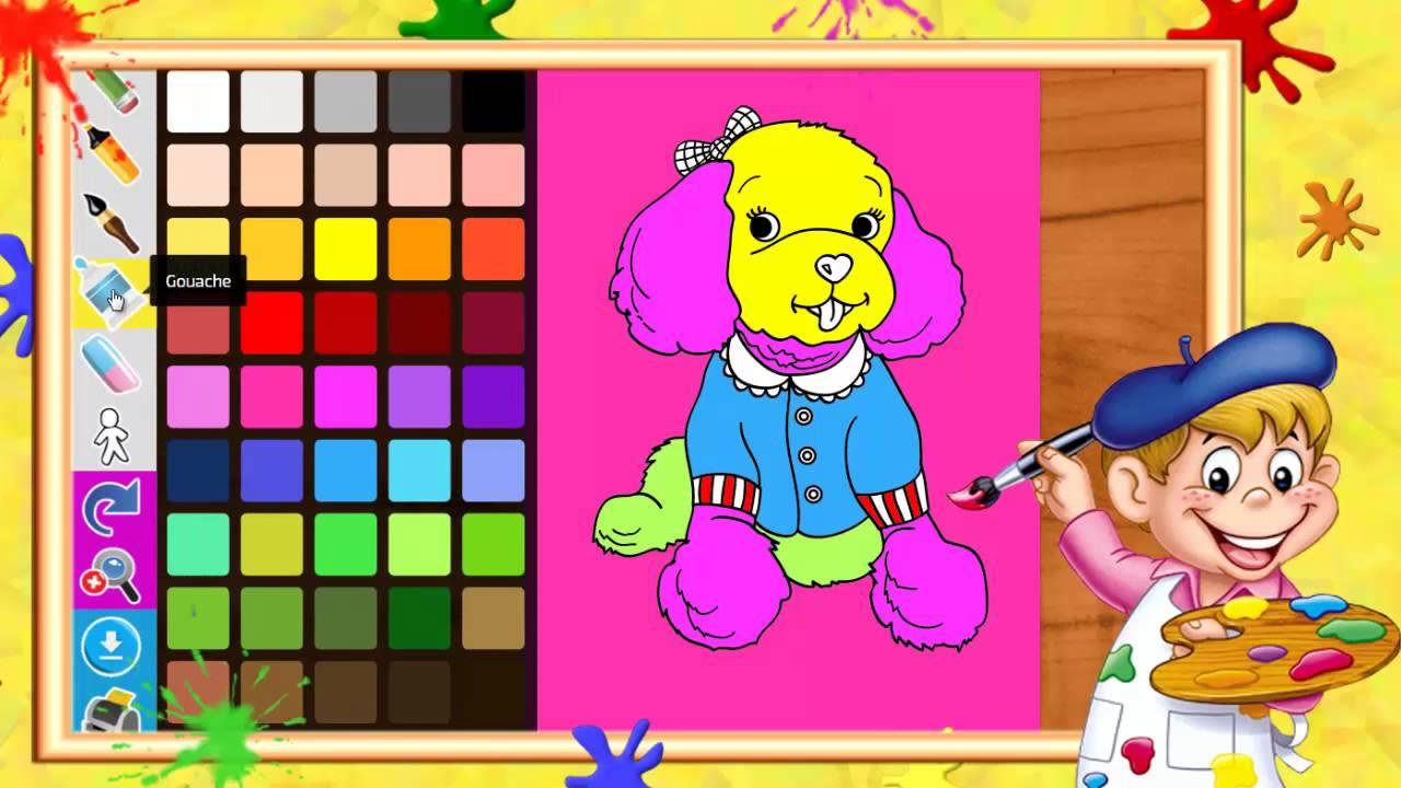 Coloriage de chien caniche i coloriages pour enfants youtube - Dessin caniche ...