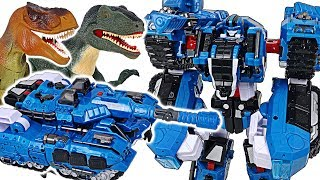 Tobot V TankGuy, Captain Police transform! Save police attacked by giant dinosaurs! #DuDuPopTOY