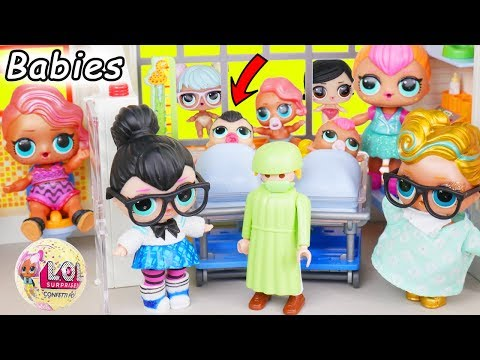 LOL SURPRISE DOLLS Spice and Neon QT Visit Customized Playmobil Baby Big Hospital for Lil Sisters