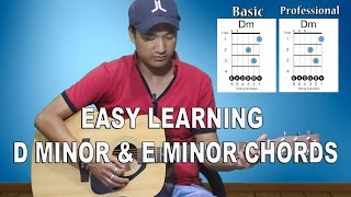 easy learning d minor - e minor - beginner guitar lesson #10