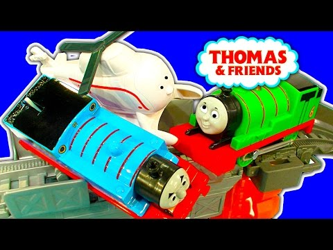 Harold's High-Flying Rescue Trackmaster Percy Vs Thomas Accidents Crashes Toy Fun