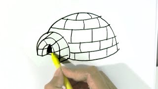 How to draw An igloo (or iglu)  in  easy steps for children, kids, beginners