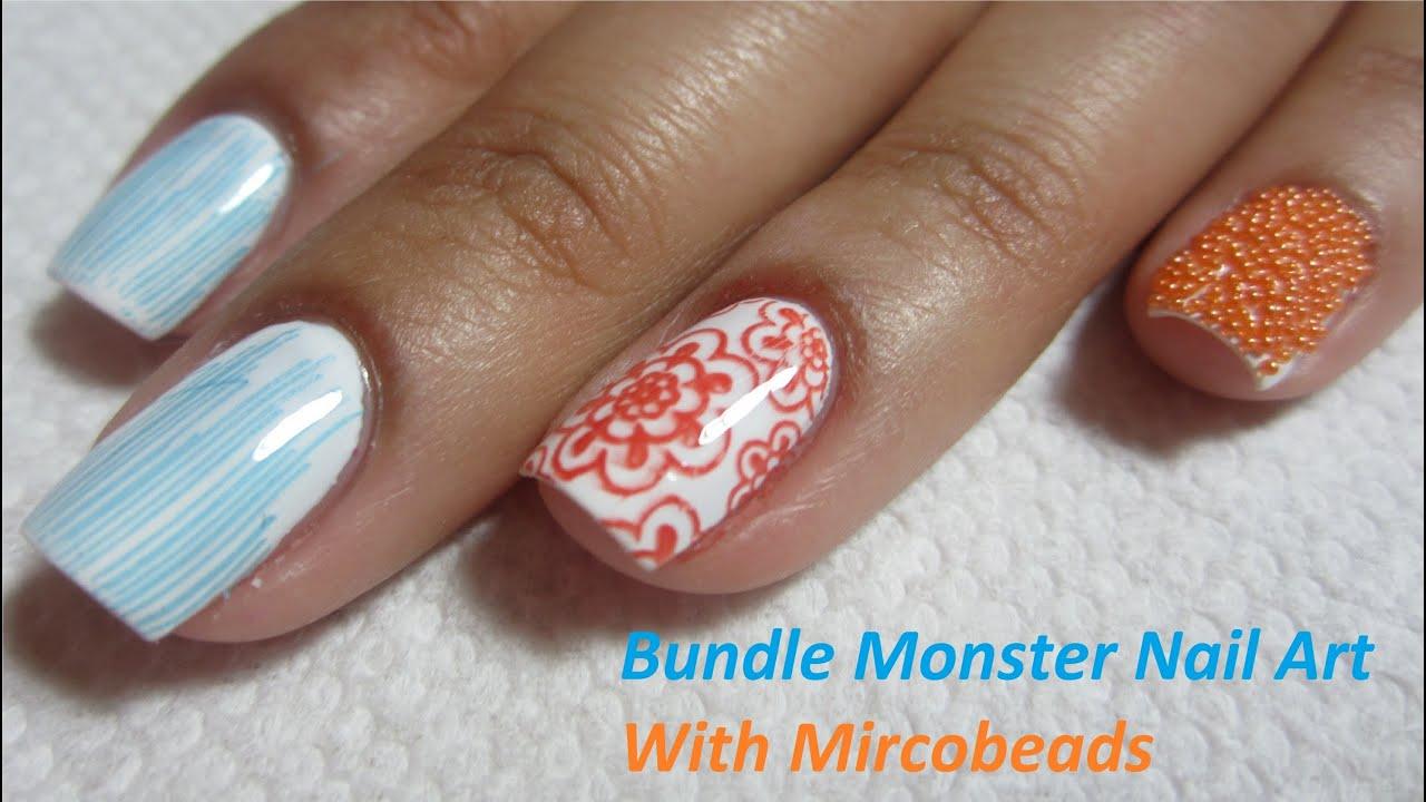 Bundle Monster Stamping Nail Art With Mircobeads Nail Tutorial