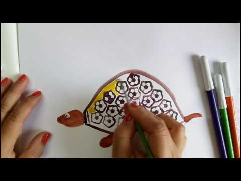 Vegetable Craft Ideas For Kids: Tortoise Drawing With Ladies Finger Prints, Fun Learning Video