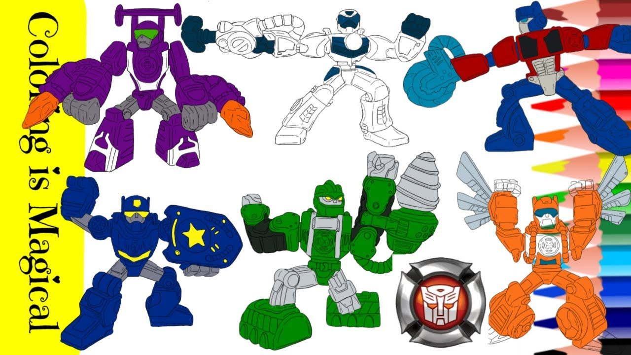 Rescue Bots Coloring Compilation Video For Kids Blurr Quickshadow