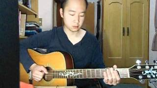 Acoustic guitar, in Open G tuning. With only slide guitar of playin...