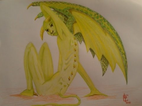 Drawing A Gargoyle Dibujando Una Gargolaガーゴイルを描きます