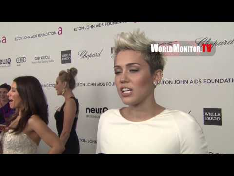 Miley Cyrus attends Elton John AIDS Foundation Oscar Party 2013