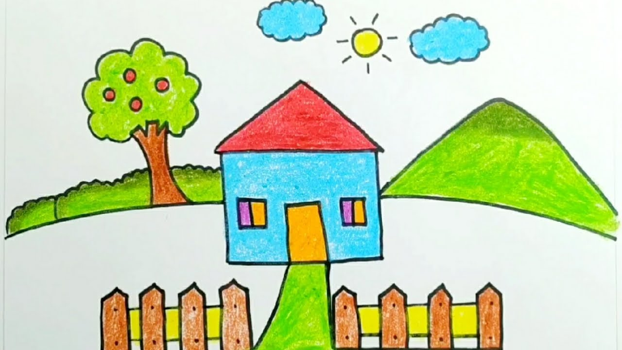 Easy Drawing For Kids House And Nature Drawing Youtube