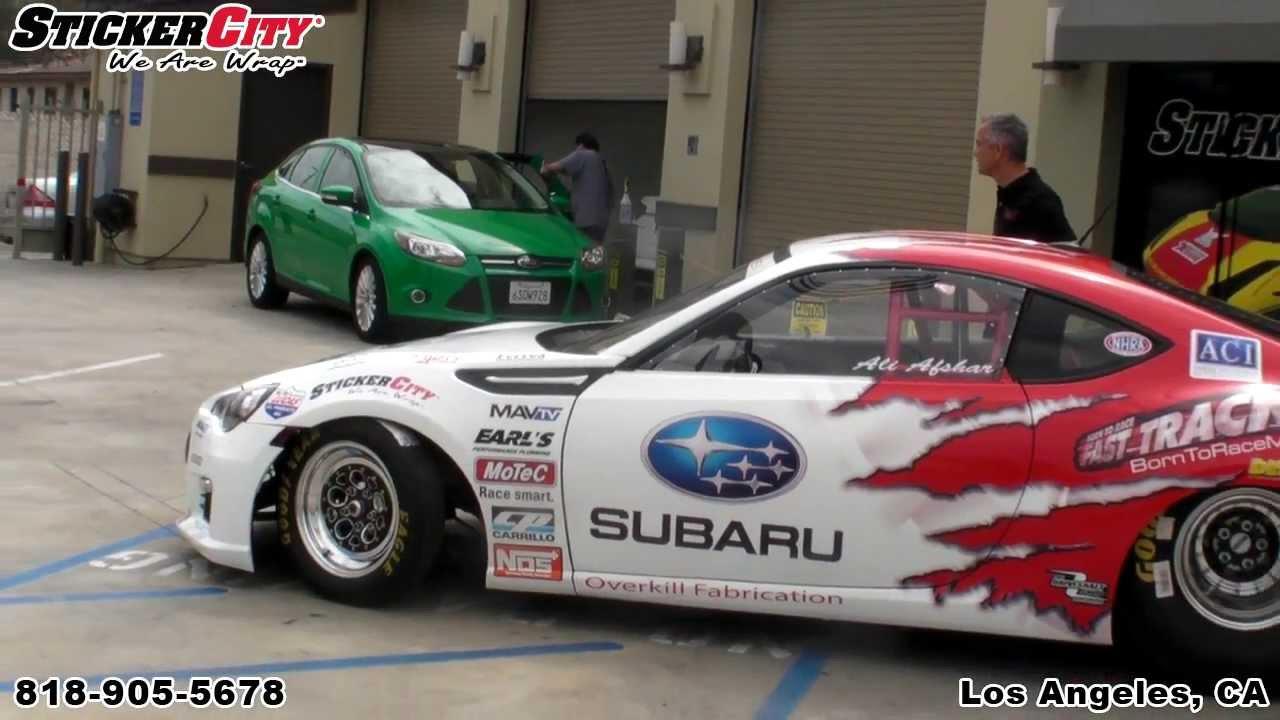 Esx subaru brz race car wrap by sticker city