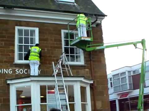 Painters 39 Boom Lift At Harborough Building Society Youtube
