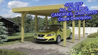 SORARA Carport 10 x 20 ft Heavy Duty Canopy Garage Car Shelter with Windows and Sidewalls- Beige