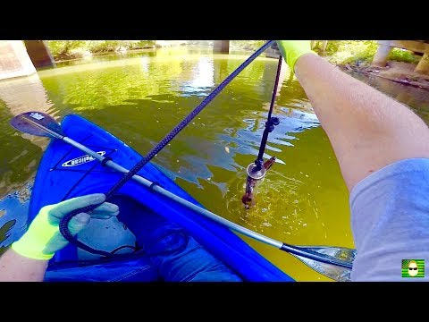 MAGNET FISHING WITH A 500 LB PULL MAGNET FROM A KAYAK!!!