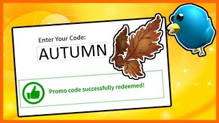 ALL ROBLOX PROMO CODES (AUTUMN 2019)