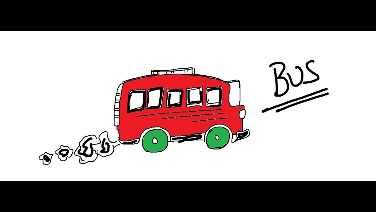 Line Drawing Bus : Easy kids drawing lessons how to draw a cartoon bus