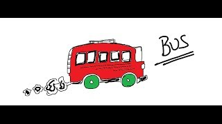 Easy Kids Drawing Lessons : How To Draw a Cartoon  Bus