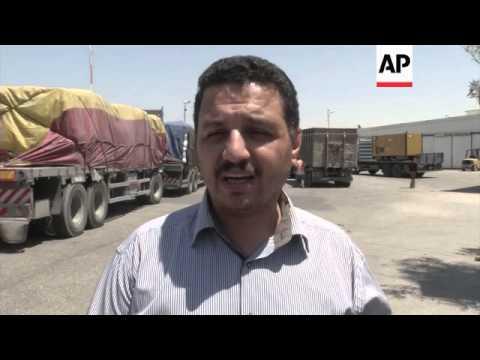 Funeral, Rafah terminal, aid trucks at Kerem Shalom, damage at power plant