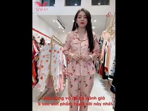 Pijama lụa mặc nhà mặc ngủ hoa hồng tay dài quần dài cao cấp Vingo H135