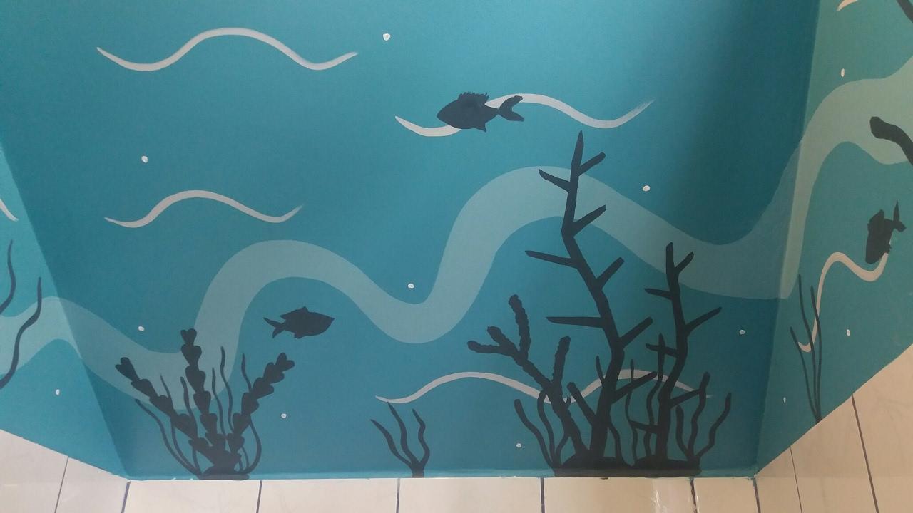 Arrecife de Coral decoracion murales caribeños en sanitario de ...