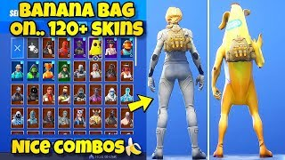 "NOUVEAU ""BANANA BAG"" BACK BLING Showcased With 120 'SKINS! Fortnite Battle Royale (BANANA BAG COMBOS)"