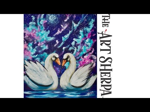 How to paint Galaxy Swans on Canvas in acrylic for beginners #Spaceweek